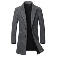חורף צמר מעיל גברים של באיכות גבוהה צמר מעיל מקרית Slim צווארון צמר מעיל גברים של ארוך כותנה צווארון מעיל גשם