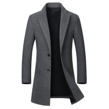 Wool Coat Jacket Men's Long Casual Cotton High-Quality Slim Collar