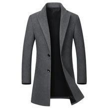 Zimowa kurtka z wełny męska wysokiej jakości wełniany płaszcz dorywczo wąski kołnierz wełniany płaszcz męski długi bawełniany kołnierzyk trencz