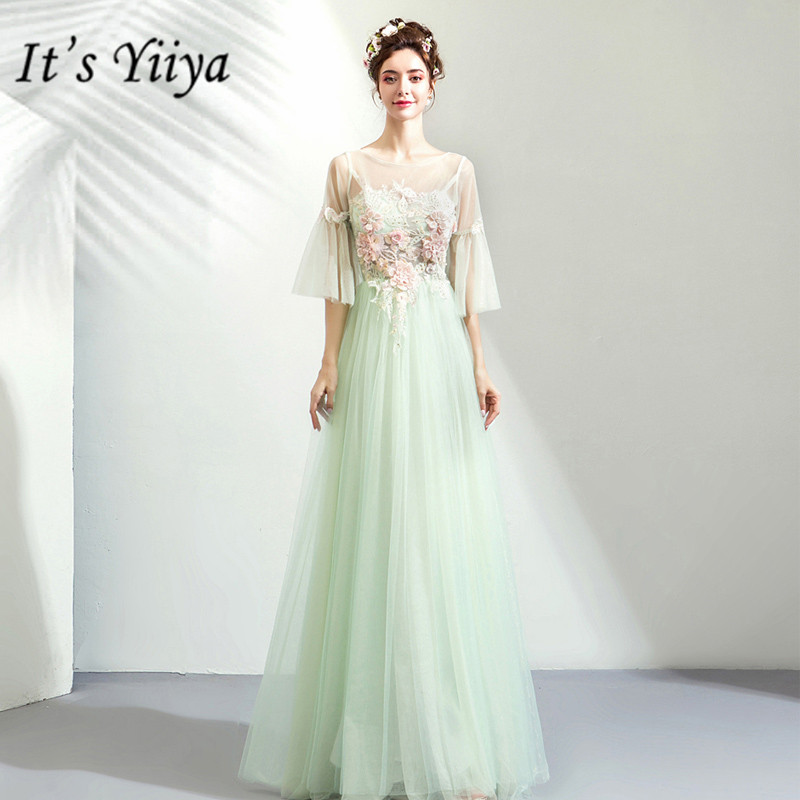 It's YiiYa Prom Gowns Green O-neck Half Sleeves A-Line Floor Length Long Party Dress Custom Plus Size Prom Dresses 2019 E282