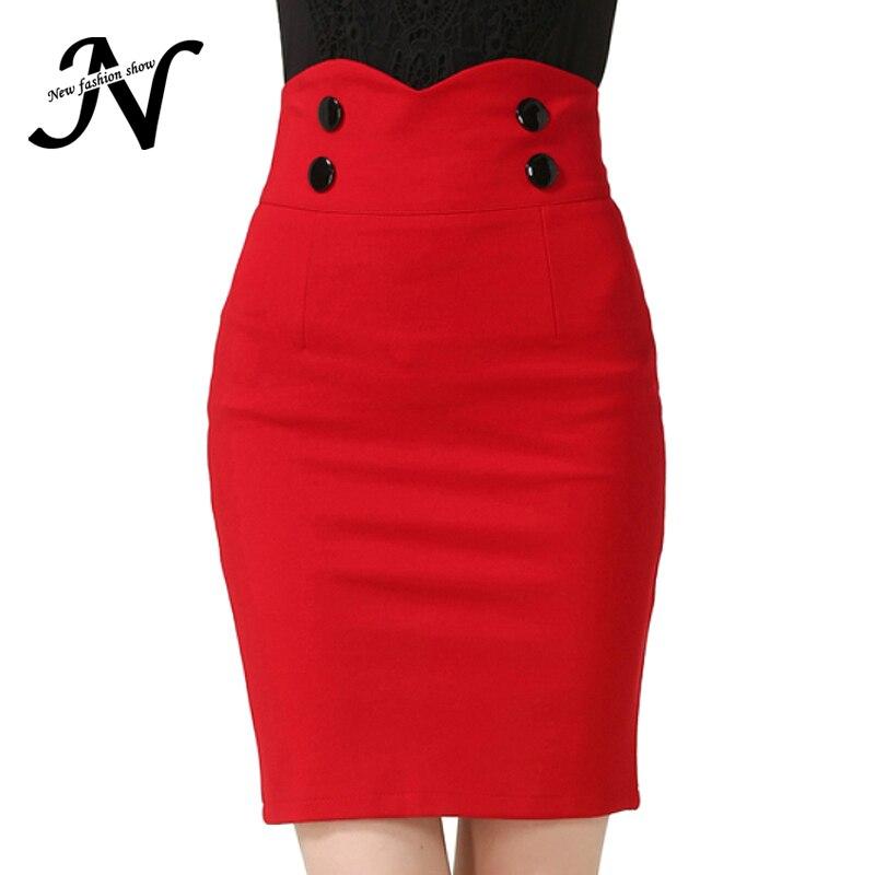 Red Black Skirt Plus Size 5XL Summer 2017 Bodycon High Waist ...