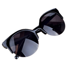 Party Gift Vintage Cat Eye Semi-Rim Round Sunglasses for Men Women SunGlasses UV400 free shipping #20615
