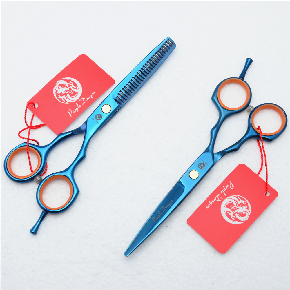 5.5 16cm Purple Dragon Blue Colour Professional Hair Scissors Hair Salon Hairdressing Cutting Shears Thinning Scissors Z1004