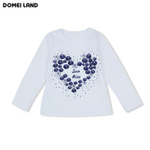 2016 New Fashion brand cute Baby Girl Clothes Long Sleeve Rhinestone Cute kids love T-Shirts Basic Cotton clothing