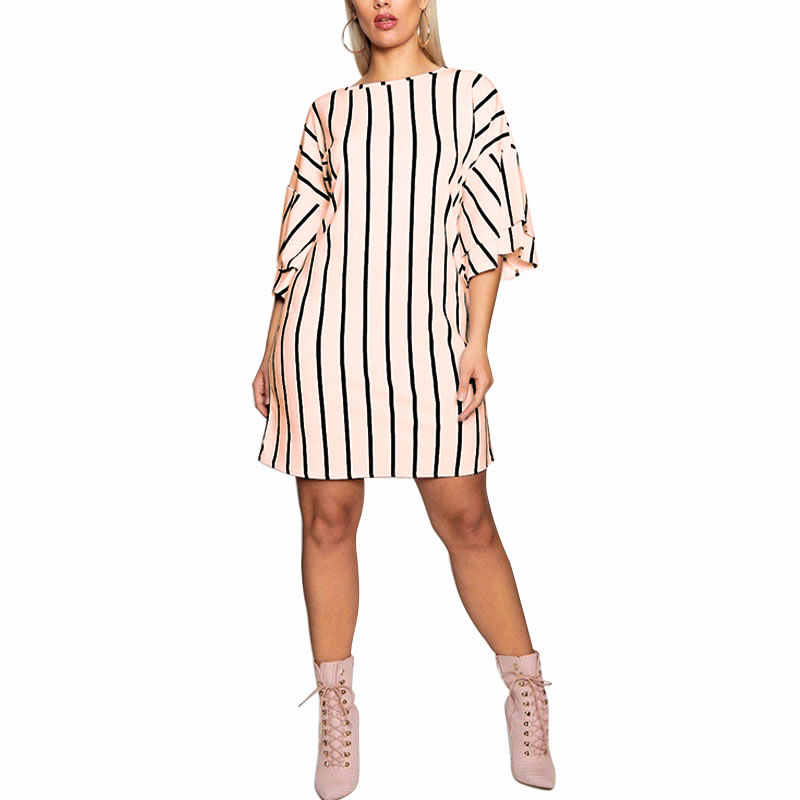 Detail Feedback Questions about Women S Plus Size O Neckline Short Ruffle  Sleeves With Stripe Work Casual Dress Casual Loose Patchwork Party Vestido  on ... 63ee537ed95c