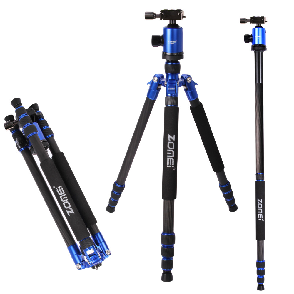 Free Shipping DHL Zomei Z888C Blue camera tripod carbon fiber tripod for camera professional with tripod case Five Colors free shipping velbon ex 440 blue camera photo tripod w panhead 1534mm load 2kg