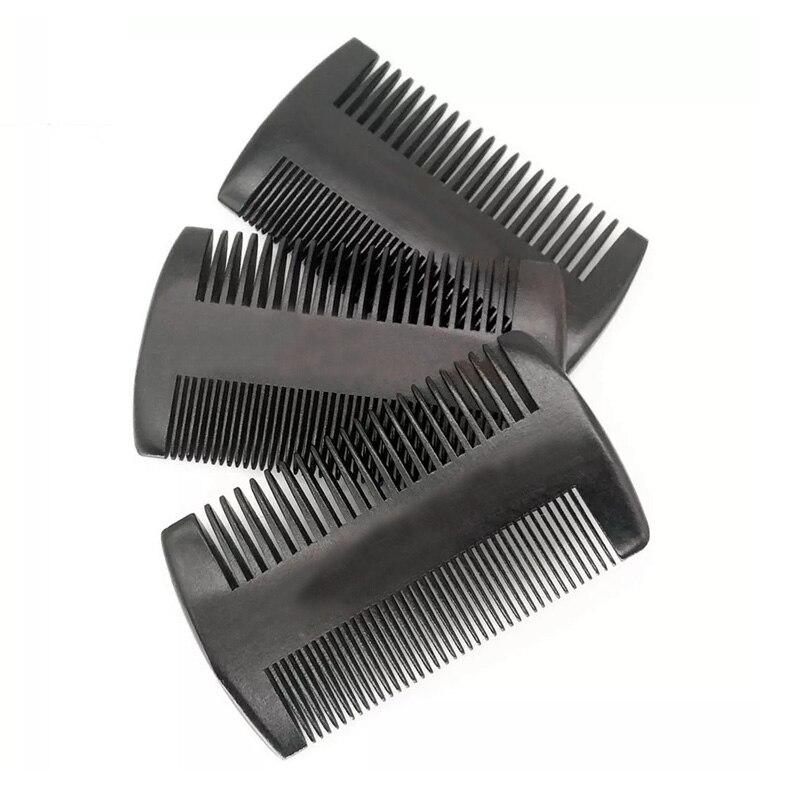 100PCS Natürliche Pfirsich Holz Zwei Seite Feine Zahn Schwarz Farbe Pfirsich Holz Haar Pinsel Kamm Bilden Werkzeug für Männer