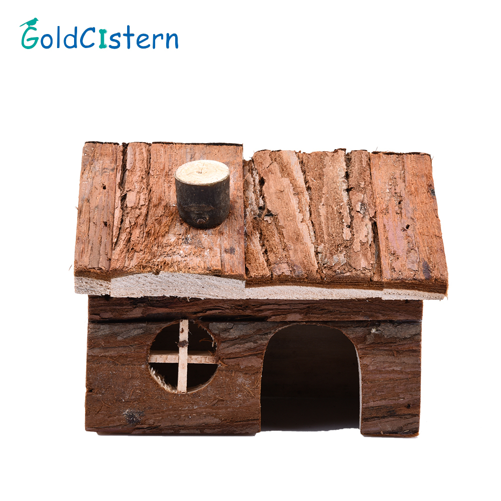 2 Sizes Beautiful And Cute Nest Playground House For Hamsters Two-story Wooden House Exquisite House With Chimney For Hamster