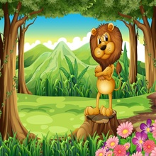 Laeacco Lion Fairy Tale Forest Children Photography Backgrounds Vinyl Digital Customized Photographic Backdrops For Photo Studio