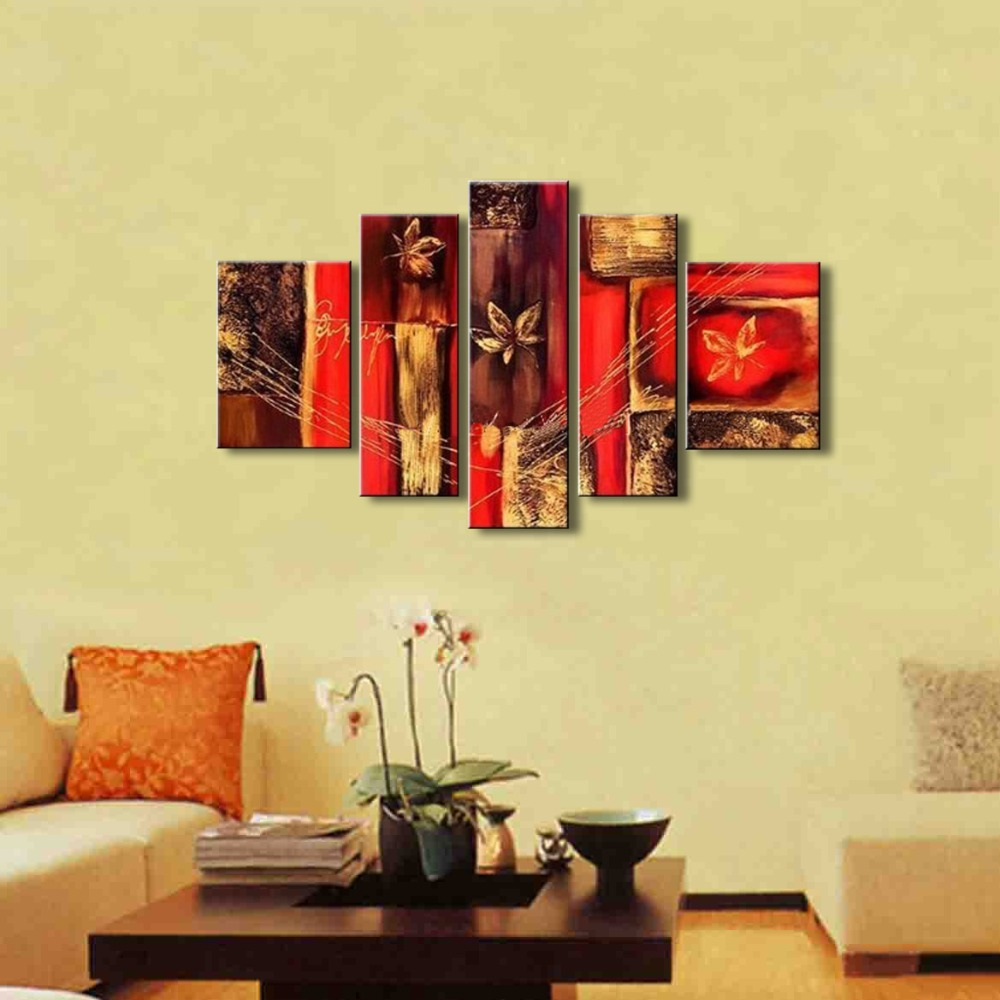 5 Panels Painting Canvas Flower Paintings Acrylic Modern Abstract ...