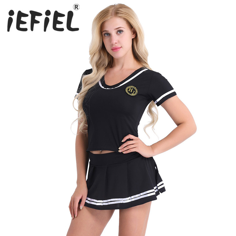 iEFiEL Women Girl Sexy Cosplay Lingerie Set Cheerleader Sailor Costumes Clubwear Outfit Short Sleeve T-shirt Top with Mini Skirt
