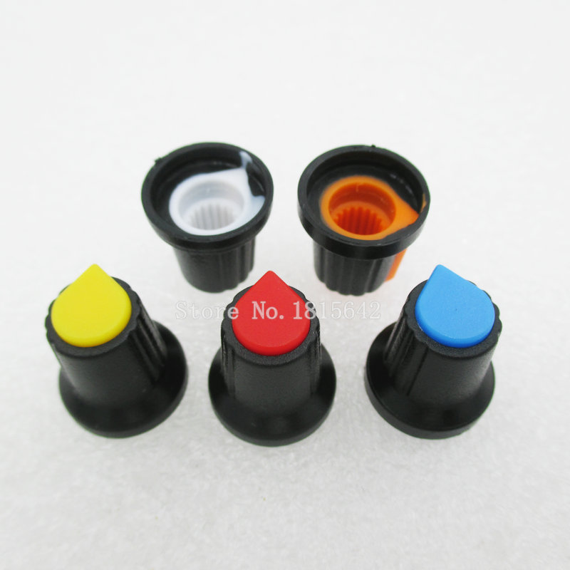 30PCS/LOT WH148 Knob 15X17mm Plastic Knob AG2 Type Potentiometer Power Amplifier Knob 5 Color