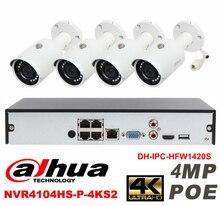 Dahua original 4CH 4MP H2.64 DH-IPC-HFW1420S 4pcs Waterproof camera POE DAHUA DHI-NVR4104HS-P-4KS2 bullet IP security camera kit
