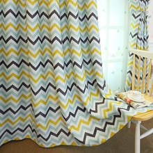 Nordic Style Striped printed curtain Shading Finished custom made polyester living room bedroom window