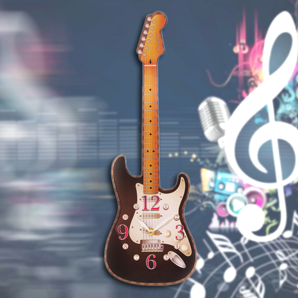 Rock n Roll Electric Guitar Wall Clock Guitarist Studio Room Wall Decor Hanging Wall Art Lead Guitar Musical Modern Wall Clock