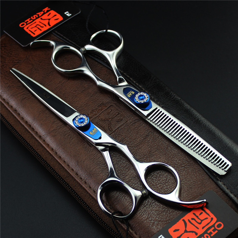 kasho 6 inch Professional Cutting/Thinning Scissors Kits Hairdressing Barber Regular Person's Right Hand for Barber and Stylist