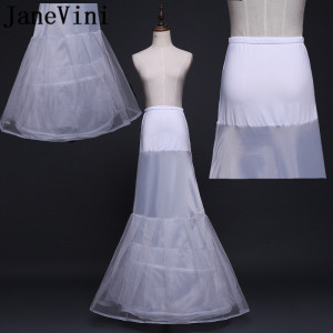 JaneVini New Style Mermaid Wedding Dress Petticoats Underskirts Tul Blanco Bridal Long Petticoat Wedding Petty Coat Jupon Mariee