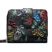 Bifold Animal Printing Genuine Leather Women Mini Clutch Wallet Flower Female Coin Purse Card Holder
