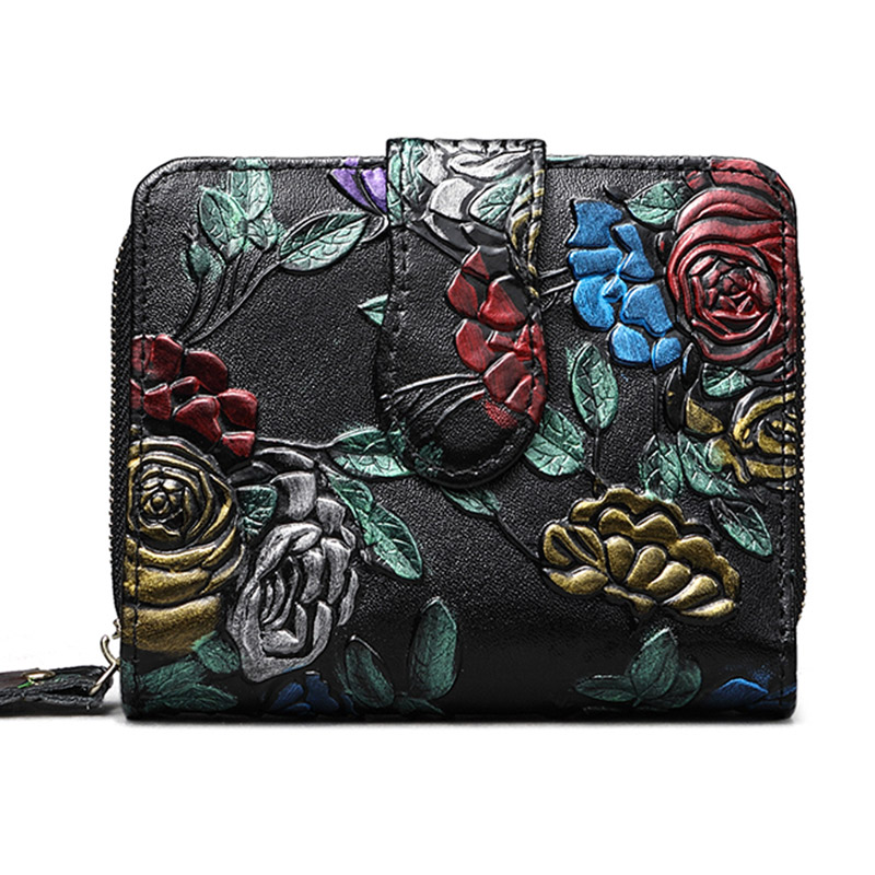 Bifold Animal Printing Genuine Leather Women Mini Clutch Wallet Flower Female Coin Purse Women Leather Card Holder Wallet