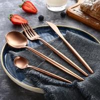24pcs KuBac Hommi 18/10 Stainless Steel Steak Knife Fork Matte Rose Gold Cutlery Set Matte Dinnerware Set Drop Shipping