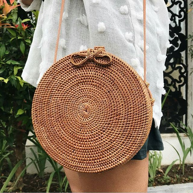 Bali Island Hand Woven Bag Round Bag buckle Rattan  Straw Bags Satchel Wind Bohemia Beach Circle Bag 11
