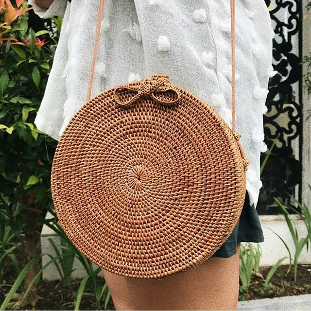 Rattan Straw Boho Crossbody Bag