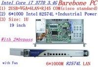 インテルi7 3770 3.4 ghz 1uラックタイプファイアウォールサーバ6*1000メートル82574lギガビットlan 2 *バイパスサポートros/routerosなどベアボーンpc