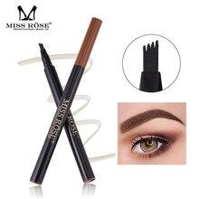 MISS ROSE Eyebrow Pencil Waterproof Fork Tip Tattoo Pen 4 Head Fine Sketch Liquid Enhancer Dye Tint
