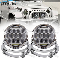 7 Inch Headlights 75W Hi Lo Beam 6000K LED Round White Angel Eye Daymaker 7 Headlight