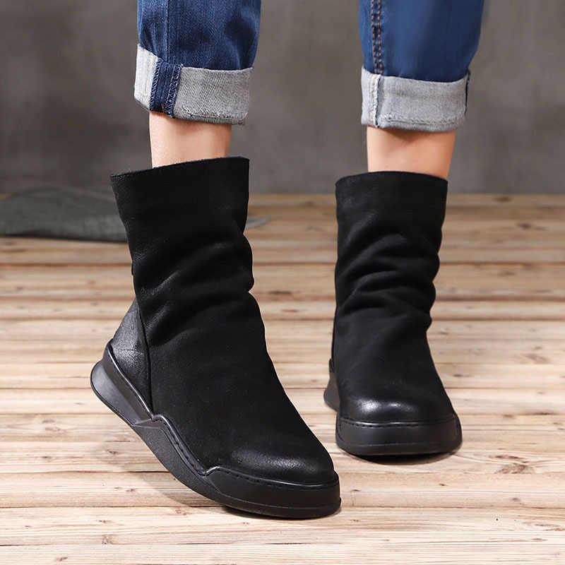 Artdiya orijinal 2019 sonbahar ve kış yeni hakiki deri kadın çizmeler yuvarlak ayak kadife yarım çizmeler Retro rahat pamuklu bot