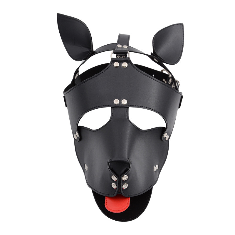 Leather Puppy Play Dog Cosplay Sexy Mask With Ears And Tongue, Fetish Sex Hood Toy For Women Men,Pet Role Exotic Accessories