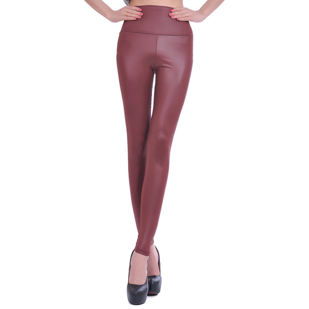 MOCH New Arrival Womens Faux Leather High Waist Leggings Pants Size S M L -wine Red Fashion