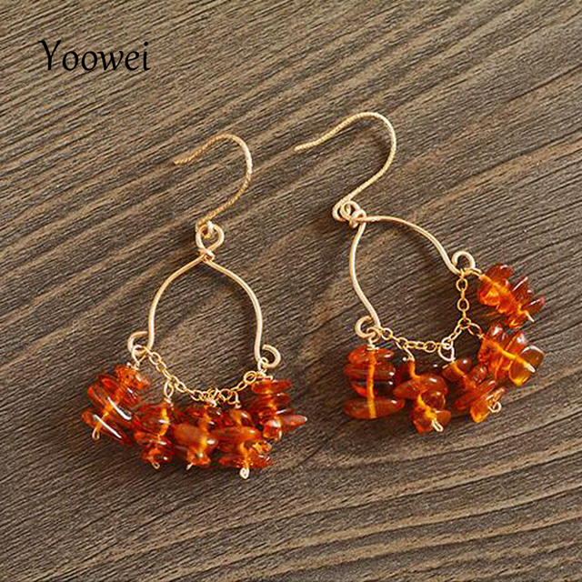 Yoowei Natural Amber Earrings For Women 100 Baltic Beads Certificated Authenticity 14k Gold Tel Jewelry