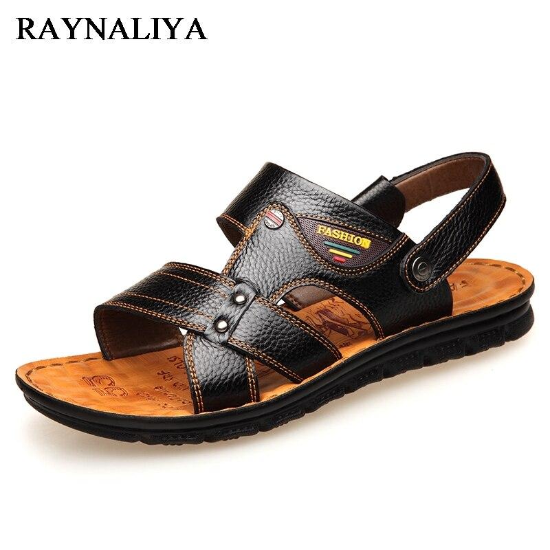 Genuine Leather Men Sandals Shoes Summer New Mens Beach Sandal Men Real Leather Sandals Black Fashion Sandals Big Size BH-A0100