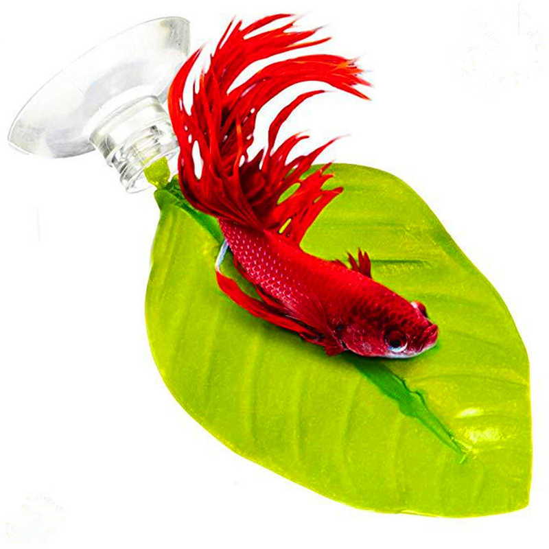 Fish tank simulation betta fish spawning plant leaves hidden floating hammock relax rest Aqarium decorative fish tank #3J14