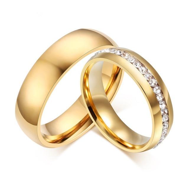 Lin Studio 6mm Gold Liebe Kristall Ring Set Fur Paar Edelstahl