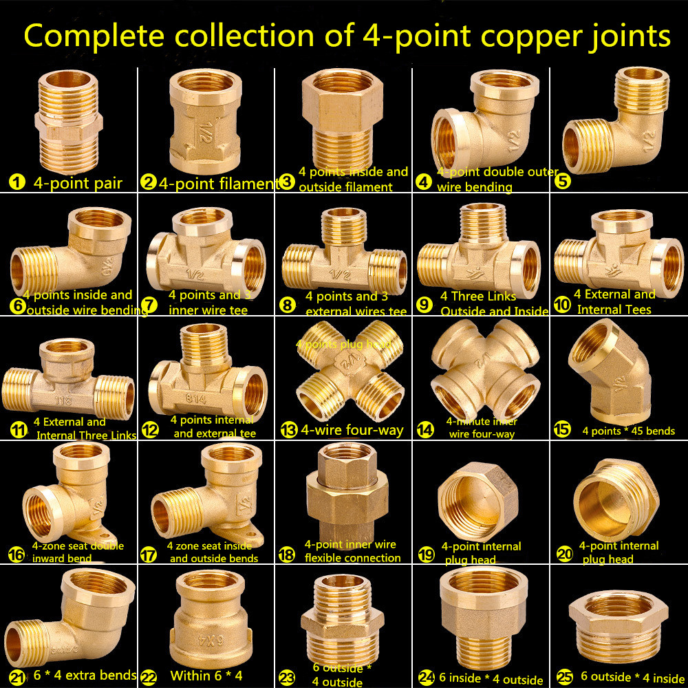 Water Pipe Plumbing Fittings 6 Points To 4 Points Copper Reducing Inner Wire Hose Outlet Double Inner Wire Pair Connector