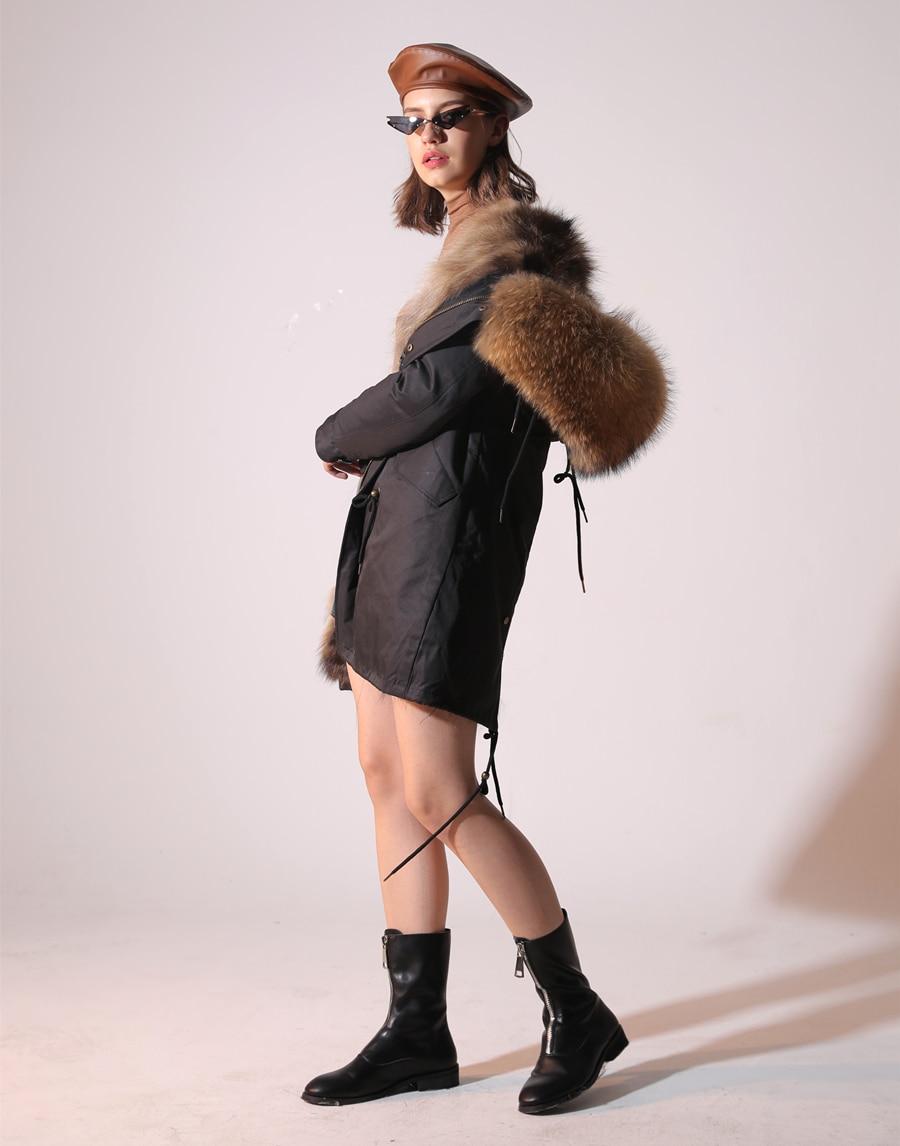 2019 Real Fur Coat Winter Jacket Women Long Parka Waterproof Big Natural Raccoon Fur Collar Hood Thick Warm Real Fox Fur Liner 43