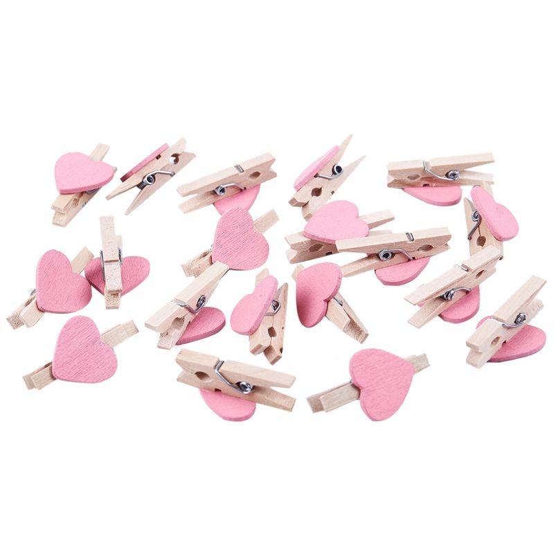 Mini Love Heart Shape Wooden Clips Message Photo Holder Album Card Paper Pegs Decor Photography - Pink 20 Pcs