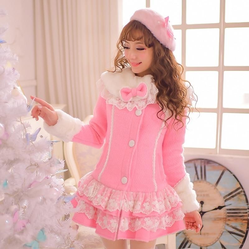 Принцесса сладкий Лолита пальто конфеты дождь оригинальный Японский стиль зима теплая меховой воротник falbala поддельные шерстяные длинное пальто C15CD5882