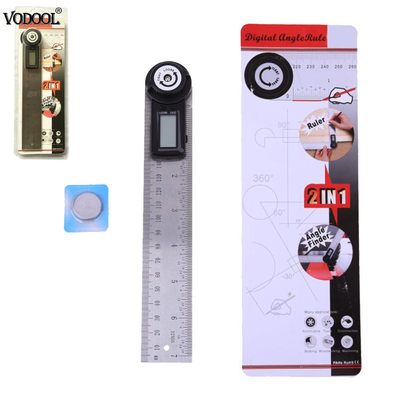 VODOOL 2 In 1 200mm/300mm Digital Stainless Steel Ruler Protractor Level Measuring Machine Electronic Straight Precision Rulers