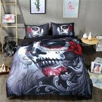 Top Halloween Style Skull Bedding Set Black Bed Sheet Queen King Double Bed Linen Cotton Blend Flower Skull Duvet Cover Sets