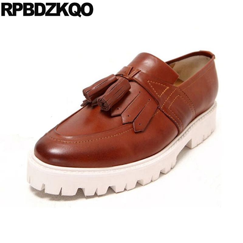 Detail Feedback Questions about Creepers Brand Genuine Leather Loafers  Tassel Men British Style Casual Brown Shoes Famous Square Toe Spring  Platform Runway ... 1eea1c8d712a