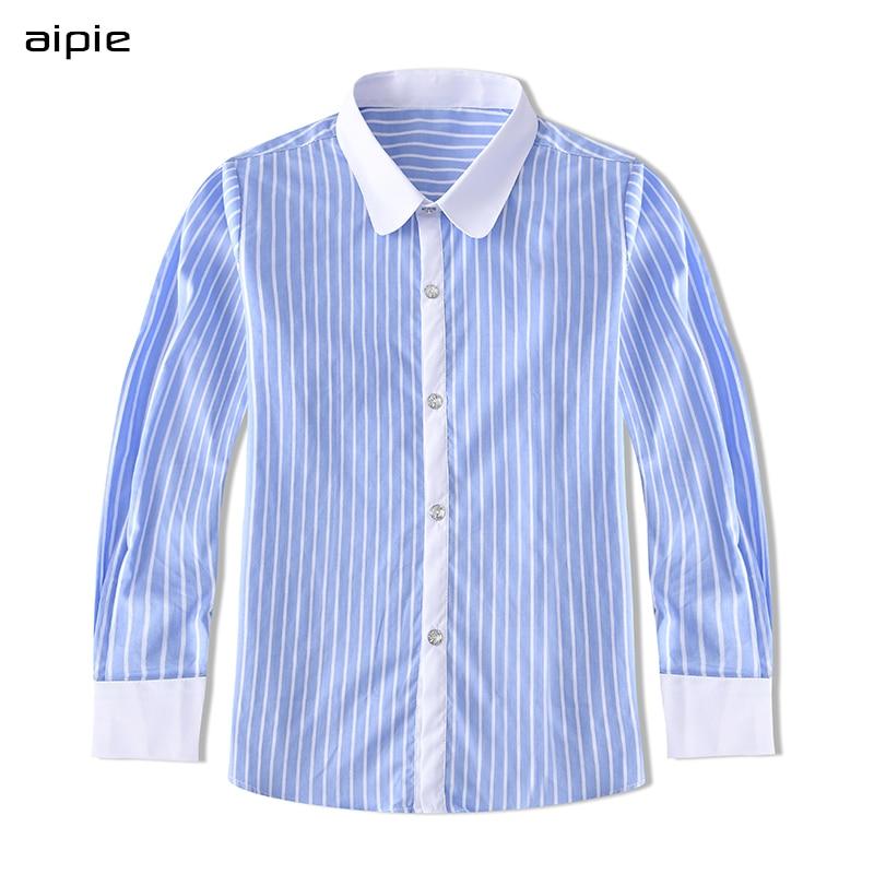 Aipie nova chegada crianças meninos camisas inglaterra estilo clássico listrado algodão manga comprida crianças camisas para 4-14 anos meninos vestir