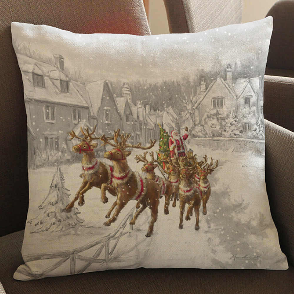Car Seat Headrest Christmas Elk Printing Dyeing Sofa Bed