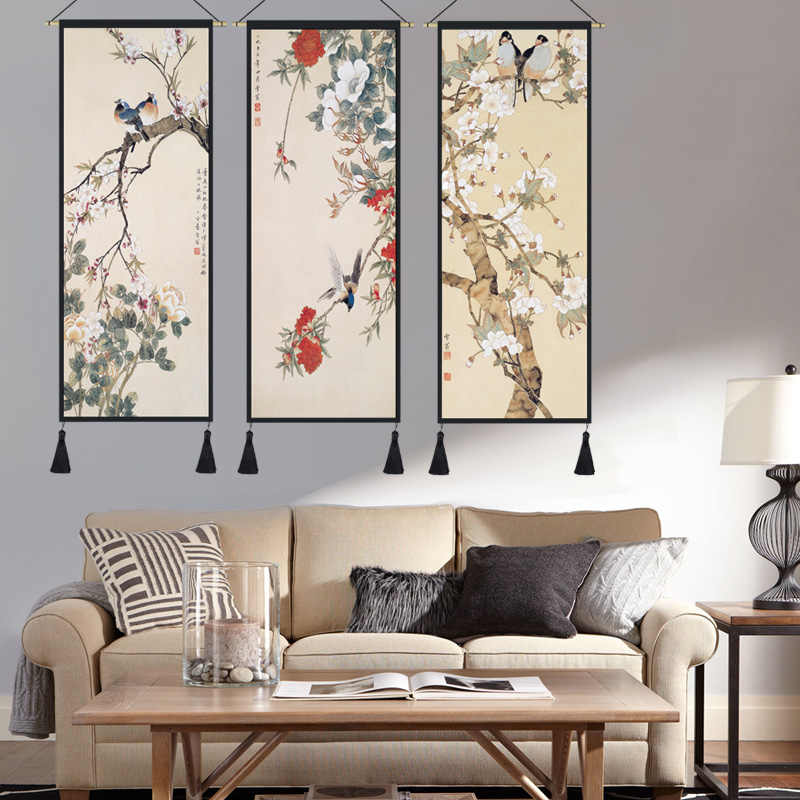 Chinese style lucky Feng Shui paintings cloth frame painting living room  bedroom wall decoration tapestry hanging cloth painting