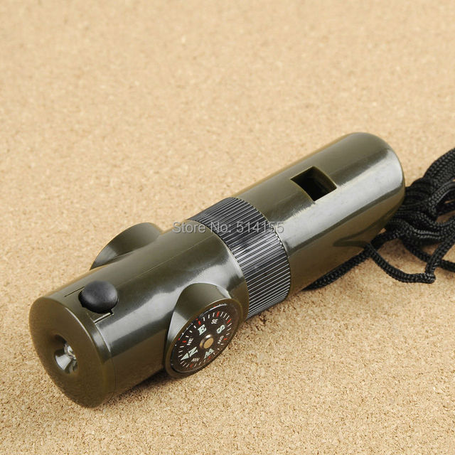 H7-1B Multifunction flashlight whistle Compass With LED Light Mini Compass Outdoor Camping Survival Tool