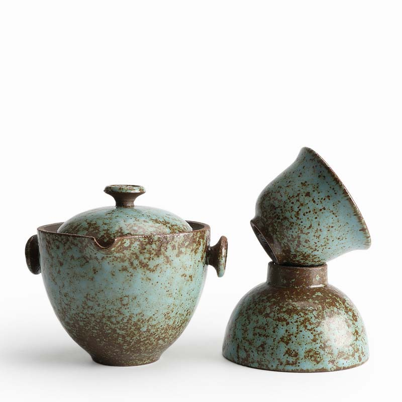 Quik cup a pot two portable cups glazed porcelain tea set office travel teaset kettle gift