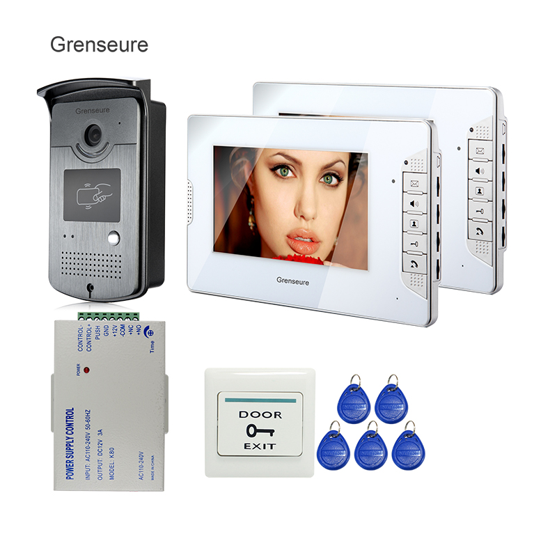 FREE SHIPPING 7 Color Screen Video Intercom Door Phone Kit + 2 White Monitor + RFID Bell Camera + Power Controller In Stock free shipping 10pcs ad9850brs in stock