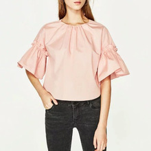 2017ss New Woman Fashion Sweet Pink Shirt Half flared Sleeved Round Neck back with self tie bow Lady TOPS